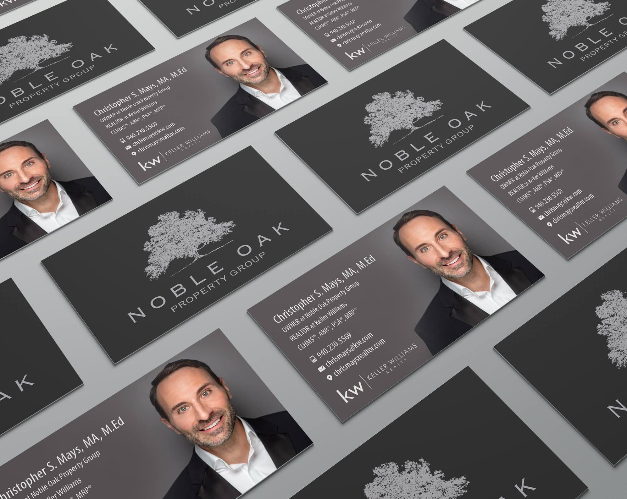 Chris Mays Realtor Business Card Mockup Noble Oak Property Group Business Card Design